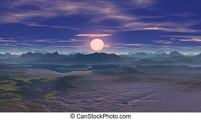 rencontrer, coucher soleil