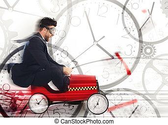 rencontrer, course, date limite, contre, temps