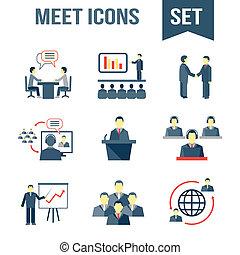 rencontrer, ensemble, partenaires, icones affaires