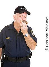 rendőr, étkezési, fánk