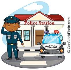 rendőr, tiszteleg, előtt, rendőrőrszoba