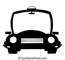 rendőrség, árnykép, karikatúra, autó
