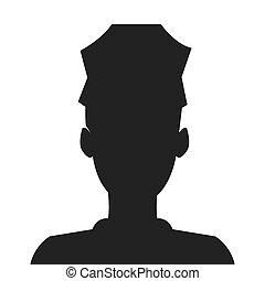 rendőrség, árnykép, tiszt icon