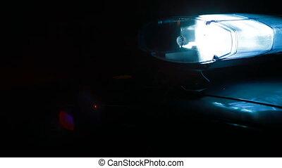 rendőrség autó, sziréna, képben látható, a, éjszaka, város