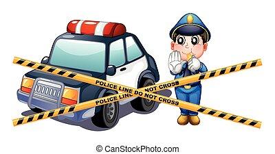 rendőrség bábu, és, autó, -ban, a, tetthely