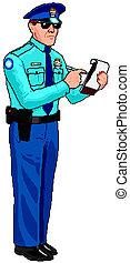 rendőrség, cédula, -, tiszt, várakozás