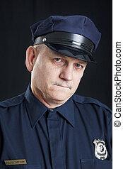 rendőrség, gond, tiszt