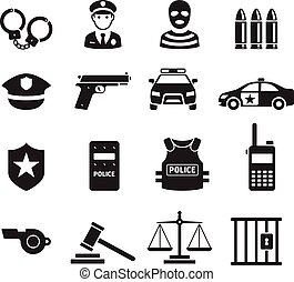 rendőrség, icons., vektor, illustrations.