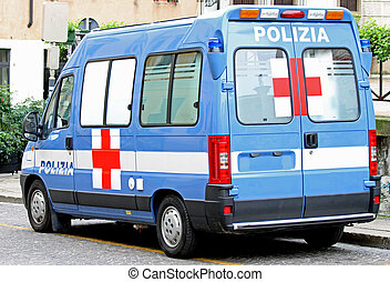 Rendőrség, kereszt, mentőautó, furgon, piros, olasz