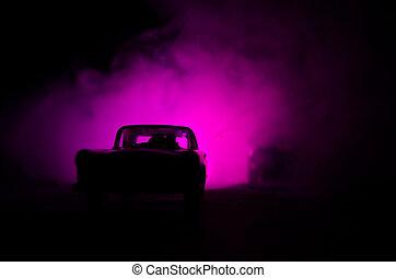 Rendőrség, szükséghelyzet, autó, Éjszaka, színhely, háttér, köd, bűncselekmény, gyorshajtás, vadászrepülőgép,  911, válasz