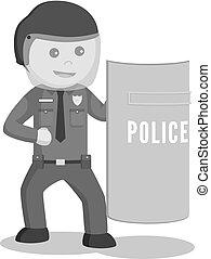 rendőrség tiszt, birtok, pajzs