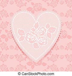 renda, cor-de-rosa, em, forma coração