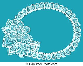 renda, doily, henna, flor, quadro