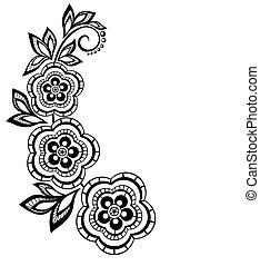 renda, efeito, isolado, desenho, ramo, flores, eyelets., element.