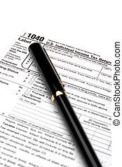 renda, forma, imposto, 1040, caneta