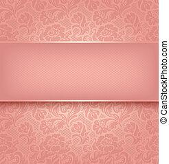 renda, fundo, cor-de-rosa, ornamental, tecido, textural., vetorial, eps, 10