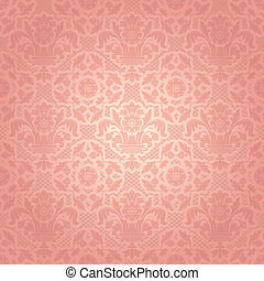 renda, fundo, ornamental, flores côr-de-rosa, modelo