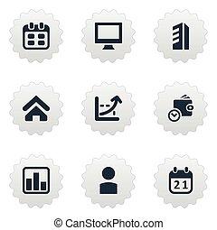 renda, jogo, simples, ilustração, empreendedorismo, icons.,...
