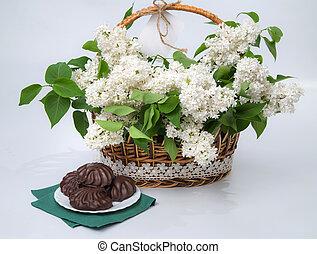 Renda,  marshmallow, lilás,  chocolate, cesta, branca