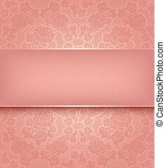 renda, modelo, ornamental, flores côr-de-rosa, fundo