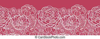 renda, padrão, seamless, fundo, horizontais, flores, borda, vermelho