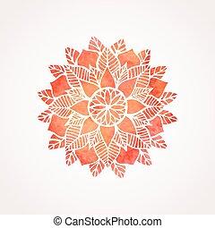 renda, pattern., aquarela, vetorial, element., mandala, vermelho