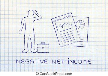 renda, resultados, &, cansado, homem negócio, negativo, rede, renda