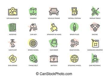 rendbehozás, állhatatos, bedugaszol, csipeszes írótábla, pumpa, autó, korong, fékez, kulcs, more., gördít, szolgáltatás, ikonok, futómű, ficam, állomás, olaj, bekapcsol, autó, egyenes, motor, titles., szikra, szerelő, színezett, autó, útvonal, térkép, csavarhúzó, vektor