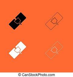 rendbehozás, állhatatos, fekete, fehér, drywall, ikon