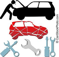 rendbehozás, állhatatos, fenntartás, autó, jelkép, szerelő, autó