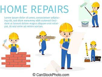 rendbehozás, építő, szobafestő, repairment, fal, repairman, services., character., sárga, téglák, lábnyom, vektor, konstruktőr, ábra, infographics, otthon, helmet., karikatúra, piros