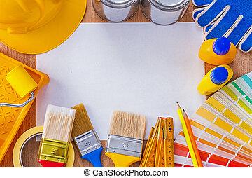 rendbehozás, ív, gyűjtés, festék, dolgozat, kitakarít, eszközök, betanul