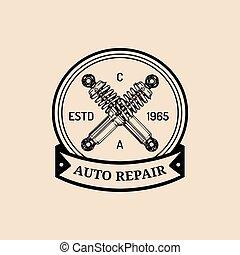 rendbehozás, abszorber, illustration., szolgáltatás, jel, autó, rázkódás, szüret, poszter, kéz, vektor, garázs, autó, húzott, etc., hirdetés