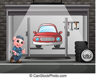 rendbehozás, autó, disznó, garázs szerelő, karikatúra