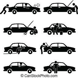 rendbehozás, autó, rögzít, lemos, kerék, ellenőriz