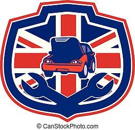 rendbehozás, autó, uk-flag-shield, csavarkulcs