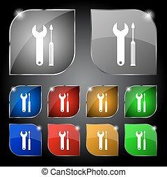 rendbehozás, buttons., állhatatos, színezett, szolgáltatás, szerszám, jelkép., csavarhúzó, wrench., vektor, icon., aláír