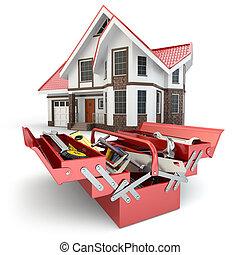 rendbehozás, concept., épület, szerkesztés, szerszámosláda, ...