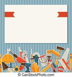 rendbehozás, dolgozó, icons., szerkesztés, ábra, eszközök