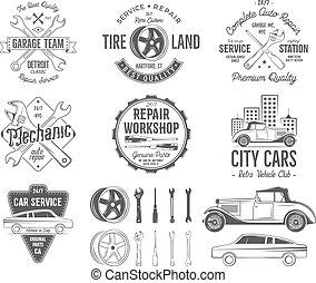 rendbehozás, elements., klasszikus, elnevezés, elkezdődik, tervezés, autógumi, ikonok, szüret, treff, retro, shirt., autók, műhely, included, aukció, insignias, jelvény, szolgáltatás, collection., garázs, vektor, autó