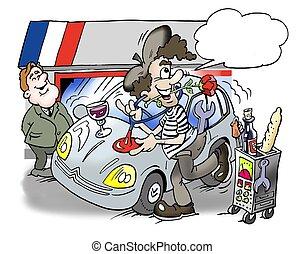 rendbehozás, ember, francia, autó