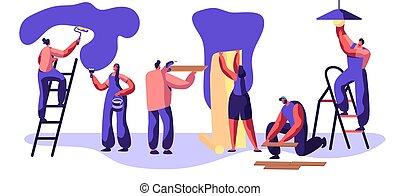 rendbehozás, fal, kezezés., szolgáltatás, festőhenger, lakás, nő, létra, worker., ábra, floor., karikatúra, cserél, ember, wallpaper., fény, fizikai munkás, glues, vektor, kézműves, laminate, profi, bulb., dal