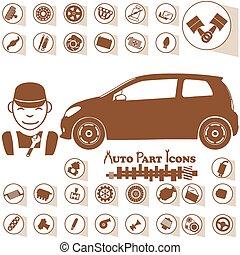 rendbehozás garázs, autó, ikonok