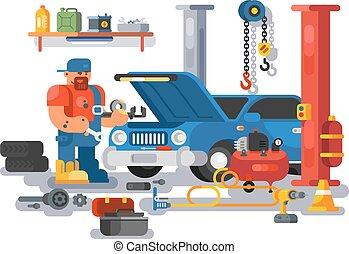 rendbehozás, garázs, munkás, szerelő, autó