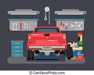 rendbehozás, garázs szerelő, autó