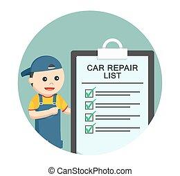 rendbehozás, háttér, autó, lista, szerelő, karika