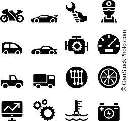 rendbehozás, ikon, állhatatos, fenntartás, autó