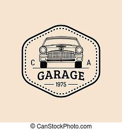 rendbehozás, illustration., autó, retro, autó, jel