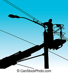 rendbehozás, illustration., erő, pole., villanyszerelő, vektor, gyártás