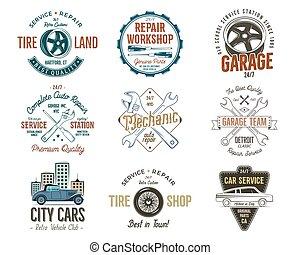 rendbehozás, insignias, jó, collection., szolgáltatás, klasszikus, shirt., szüret, elnevezés, elkezdődik, treff, garázs, befest, jelvény, műhely, retro, vector., autók, autó, aukció, design.
